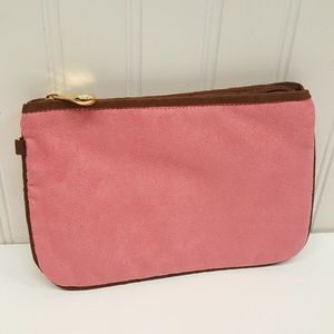 Hilary London Suede clutch makeup purse  PINK